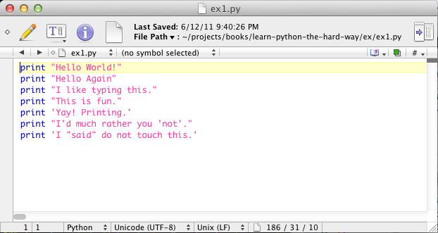 Exercise 1: A Good First Program — Learn Python The Hard Way